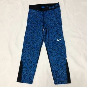 Nike Pro Cropped Blue Black Leggings